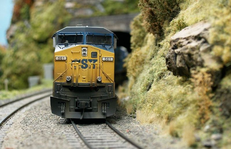 blue and yellow model train, metal railway, green trees and mountainous area in the background